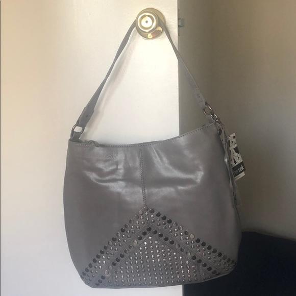 The Sak Handbags - the Sak Gray Studded Leather Hobo Handbag w/ tags